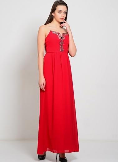 Lıttle Mıstress Straplez Uzun Abiye Elbise Kırmızı
